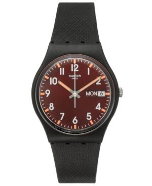 Swatch Unisex Swiss Core Black Silicone Strap Watch 34mm GB7