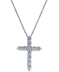 Diamond Cross Pendant Necklace (1 ct. t.w.) in 14k White Gold