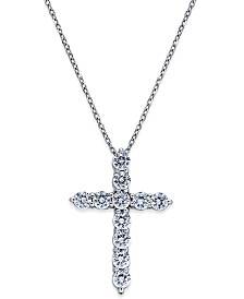 Diamond Cross Pendant Necklace (1 ct. t.w.) in 14k White Gold