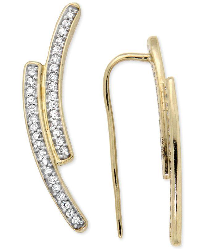 Macy's Diamond Curve Cuff Earrings (1/5 ct. t.w.) in 14k Gold