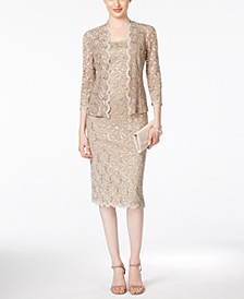 Sequined Lace Sheath Dress and Jacket