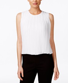 Calvin Klein Sleeveless Pleated Blouse