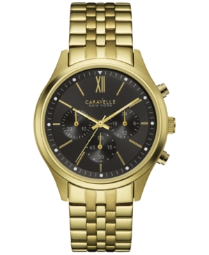 Caravelle New York by Bulova Men's Chronograph Gold-Tone Stainless Steel Bracelet Watch 41mm 44A108
