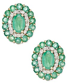Emerald (2-1/8 ct. t.w.) and Diamond (1/4 ct. t.w.) Oval Floral Earrings in 14k Gold