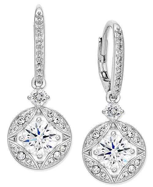 Eliot Danori Silver-Tone Crystal Drop Earrings, Created for Macy's