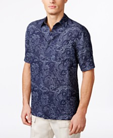 Tasso Elba Men's Paisley Short-Sleeve Silk Shirt, Created for Macy's