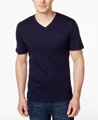 Michael Kors Men's V-Neck Liquid Cotton T-Shirt - T-Shirts - Men ...