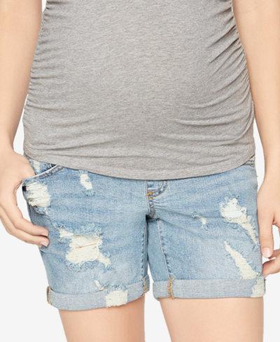 A Pea In The Pod Cuffed Distressed Denim Maternity Shorts