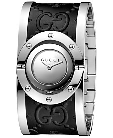 Gucci Women's Swiss Twirl Stainless Steel and Black Leather Bangle Bracelet Watch 24mm YA112441