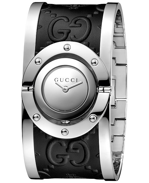 94b8dc727d3 ... Gucci Women s Swiss Twirl Stainless Steel and Black Leather Bangle  Bracelet Watch 24mm YA112441 ...
