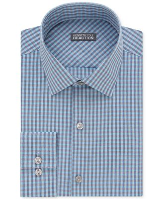 Kenneth Cole Reaction Men 39 S Slim Fit Pool Blue Checked