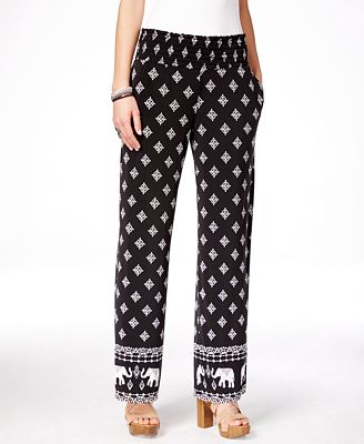 INC International Concepts Printed Wide-Leg Pants, Only at Macy's ...