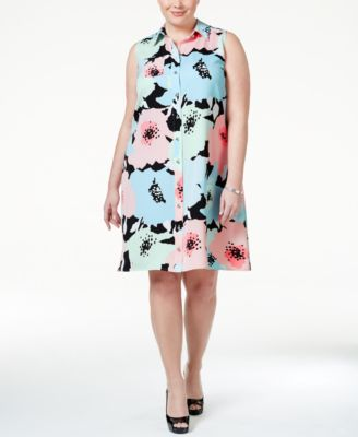 Calvin Klein Plus Size Floral-Print Shirtdress