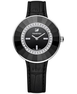 Swarovski Women's Swiss Octea Crystal Accent Dressy Black Leather Strap Watch 36mm