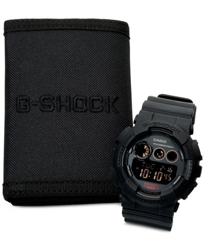 g shock watches macy s g shock men s digital blackout black strap watch and wallet set 55x51mm gd120mb 1bob