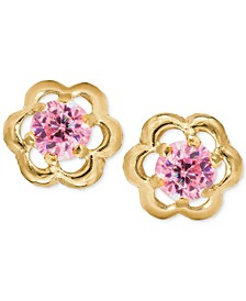 Children's Pink Cubic Zirconia Flower Screwback Stud Earrings in 14k Gold