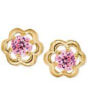 Children's Pink Cubic Zirconia Flower Screwback Stud Earrings in 14k Gold