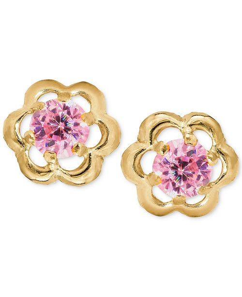 Macy's Children's Pink Cubic Zirconia Flower Screwback Stud Earrings in 14k Gold