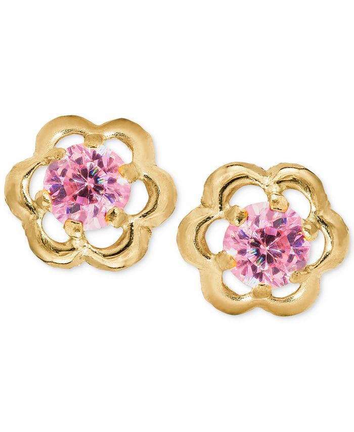 Macy's - Children's Pink Cubic Zirconia Flower Screwback Stud Earrings in 14k Gold