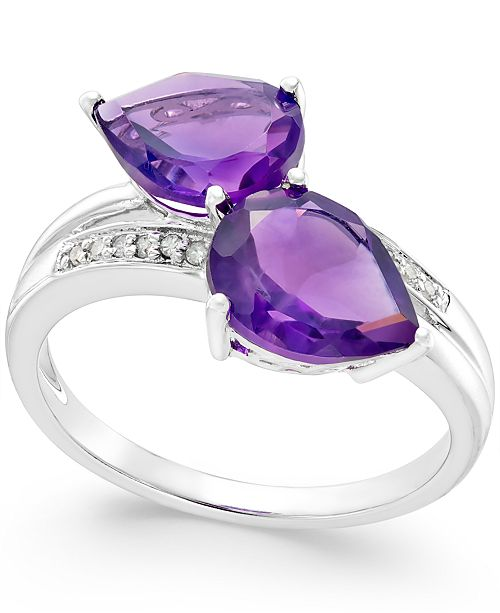 Macy's Amethyst (4 ct. t.w.) and Diamond Accent Statement Ring in 14k White Gold