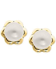 Children's Cultured Freshwater Pearl (4mm) Flower Stud Earrings in 14k Gold