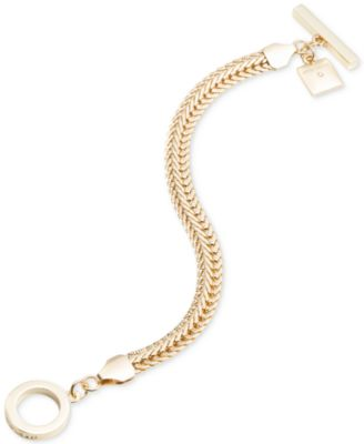 Image of Anne Klein Gold-Tone Flat Chain Toggle Bracelet