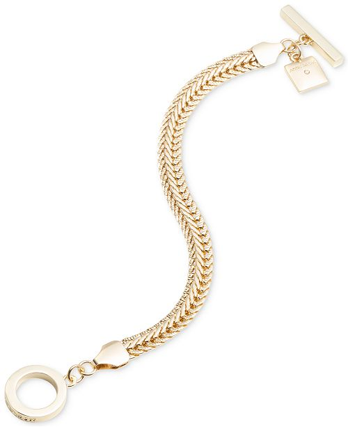 Anne Klein Gold-Tone Flat Chain Toggle Bracelet