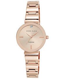 Anne Klein Women's Diamond Accent Rose Gold-Tone Stainless Steel Bracelet Watch 28mm AK-2434RGRG
