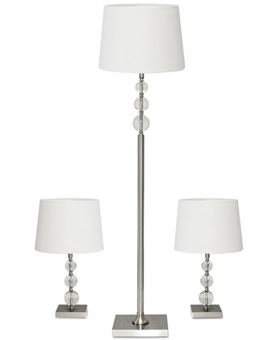 Adesso 3-Pc. Metal and Crystal Lamp Set