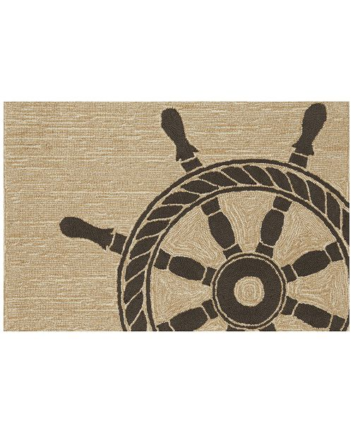 Liora Manne' Liora Manne Front Porch Indoor/Outdoor Ship Wheel Black 2' x 3' Area Rug