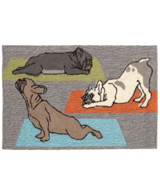 Liora Manne Front Porch Indoor/Outdoor Yoga Dogs Heather 2' x 3' Area Rug