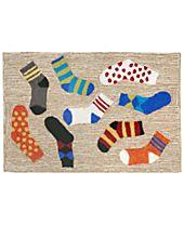 Liora Manne Front Porch Indoor/Outdoor Lost Socks Multi Area Rug