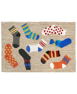Liora Manne Front Porch Indoor/Outdoor Lost Socks Multi 2u0027 X 3u0027 Area