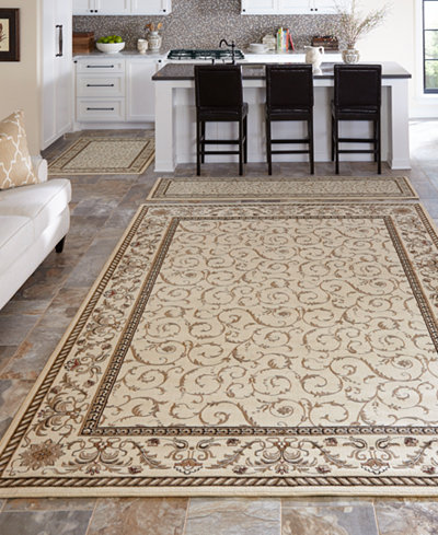 CLOSEOUT! KM Home Roma Damask Ivory 3-Pc Rug Set