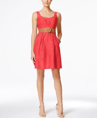 Nine West Women/'s Belted Burnout Fit Flare Dress