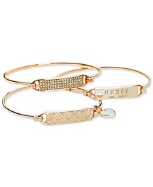 Rose Gold-Tone 3-Pc. Set Plate and Wire Bangle Bracelets