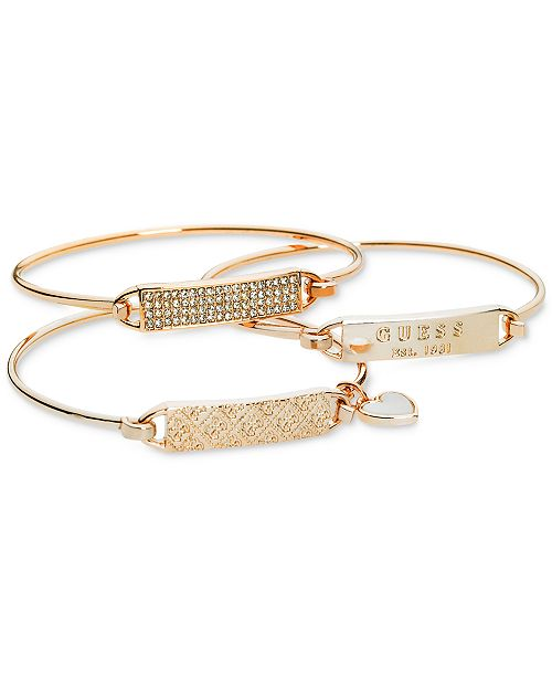 Rose Gold Tone 3 Pc Set Plate And Wire Bangle Bracelets