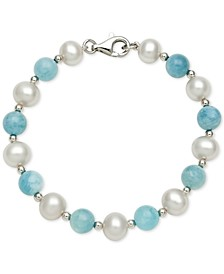 Milky Aquamarine (8mm) and Cultured Freshwater Pearl (7-1/2mm) Bracelet