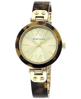 Anne Klein Watch, Women's Gold-Tone and Tortoise Plastic Bangle Bracelet 10-9652CHTO