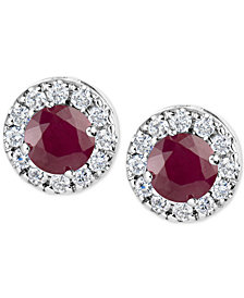 Ruby (1-1/5 ct. t.w.) and Diamond (1/3 ct. t.w.) Halo Stud Earrings in 14k White Gold