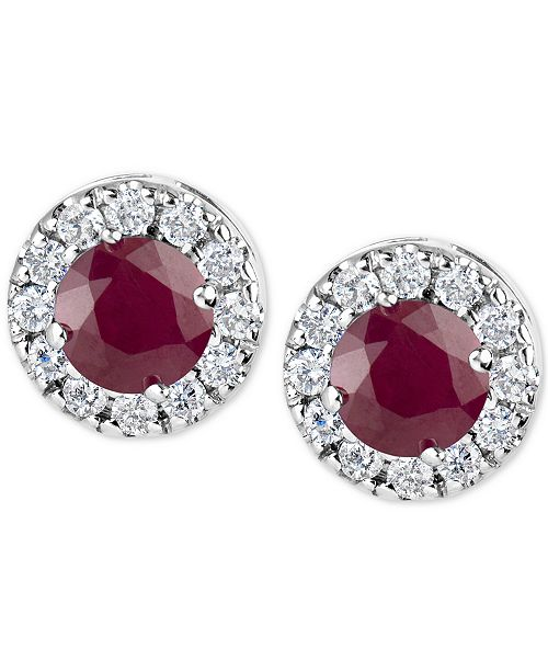 Macy's Ruby (1-1/5 ct. t.w.) and Diamond (1/3 ct. t.w.) Halo Stud Earrings in 14k White Gold