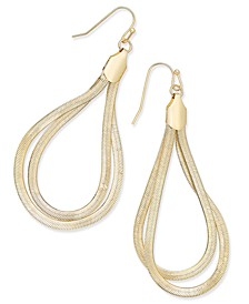 Gold-Tone Herringbone Loop Teardrop Earrings, Created for Macy's