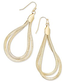 "Thalia Sodi Extra Large 2.5"" Gold-Tone Flat Chain Two-Loop Drop Earrings, Created for Macy's"