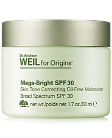 Dr. Andrew Weil for Mega-Bright SPF 30 Skin Tone Correcting Oil-Free Moisturizer, 1.7-oz.