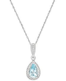 Aquamarine (1 ct. t.w.) and Diamond (1/10 ct. t.w.) Pendant Necklace in 14k White Gold