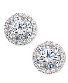 Arabella Swarovski Zirconia Halo Stud Earrings in Sterling Silver, Created for Macy's