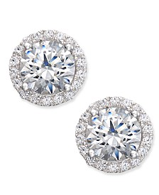Arabella Swarovski Zirconia Halo Stud Earrings in Sterling Silver, Created for Macy's