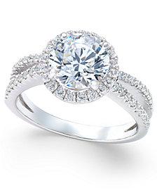 Arabella Swarovski Zirconia Rounded Split Shank Ring in Sterling Silver, Created for Macy's
