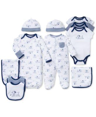 Baby Boys 3-Piece Puppy Toile Bib and Burp Cloth Set
