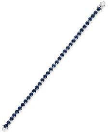 Sapphire Tennis Bracelet (20 ct. t.w.) in Sterling Silver, Created for Macy's